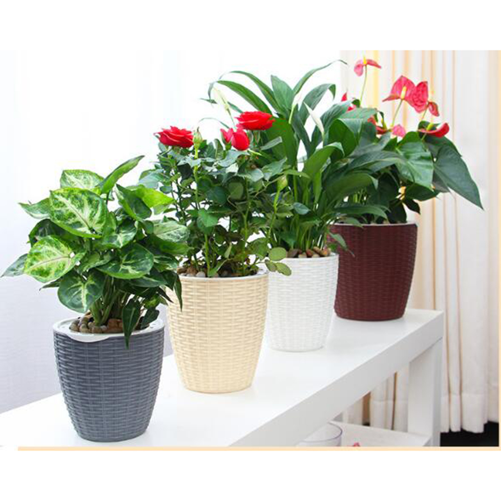 Self-Watering-ABS-Rattan-Flower-Pot-Plant-Home-Office-Decor-S-M-L-3Sizes thumbnail 6