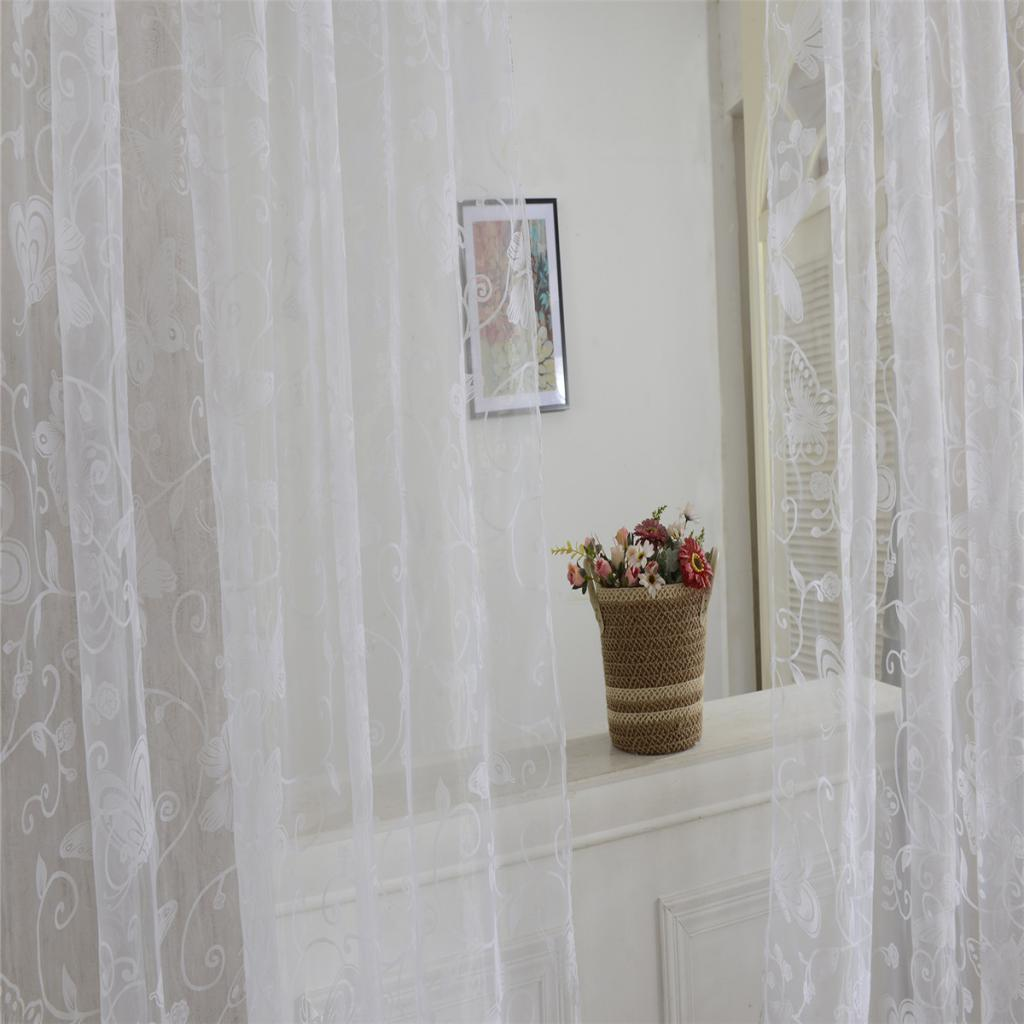 Flocking Butterfly Print Sheer Curtain Panel Window Balcony Tulle Room Divider Ebay