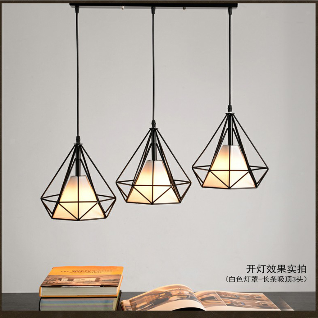 Modern-Geometric-Diamond-Caged-Ceiling-Pendant-Light-Shade-Easy-Fit-Lampshade thumbnail 3