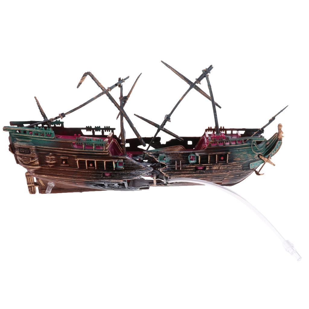 Grande Decorazione Acquario Barca Plactic Acquario Nave Air Split Relitto di Fish Tank Decor Wreck Affondato