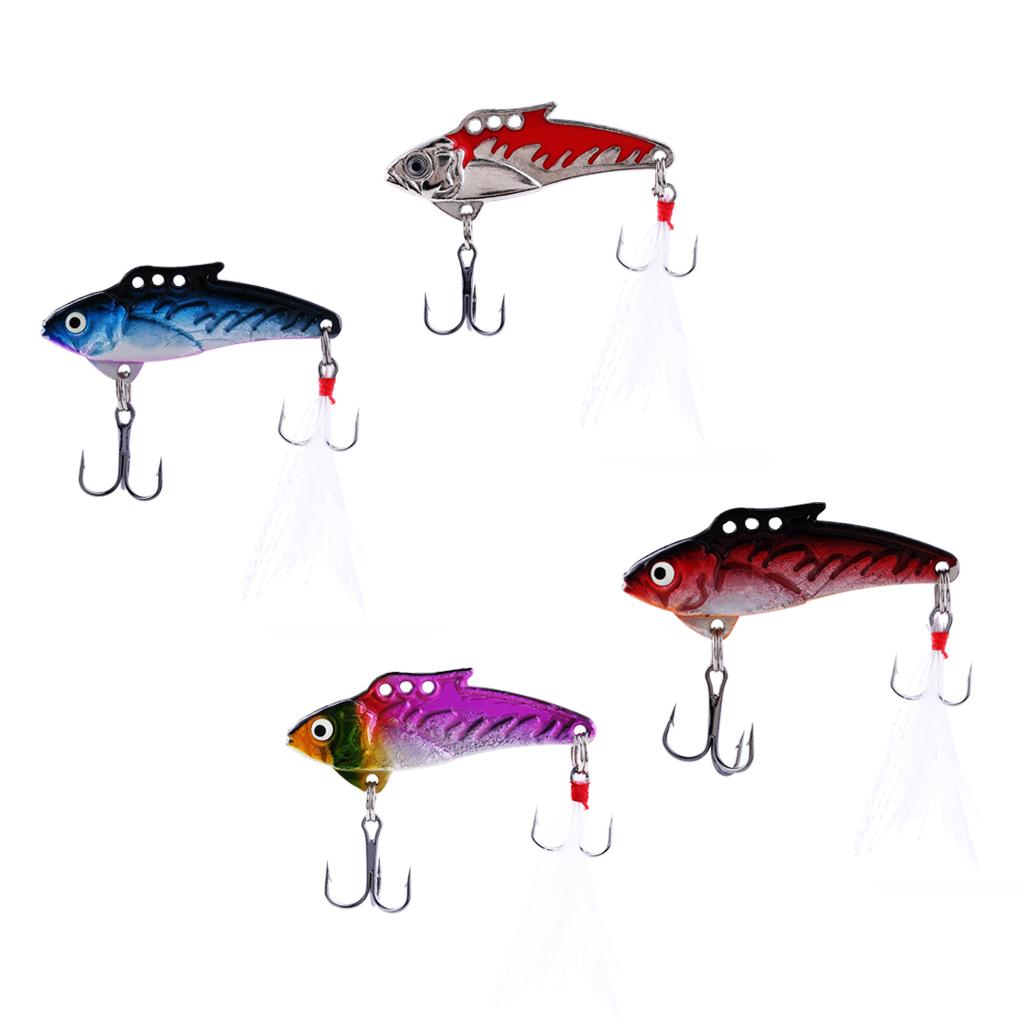 4pcs Spoon Fishing Lures Metal Hard Bait VIB Jigging Spinnerbaits Crankbait