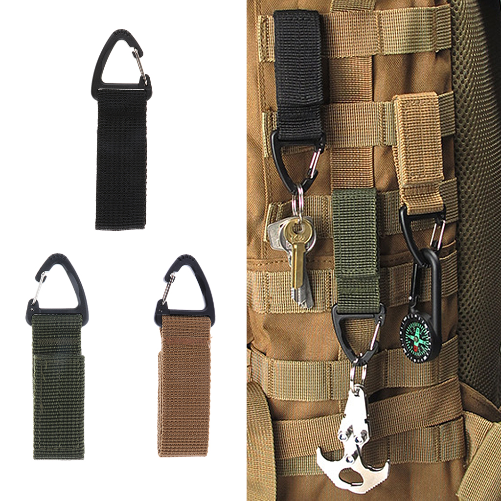 Carabiners & Hardware Outdoor Hiking Tactical MOLLE Strong Webbing Triangular Carabiner Clip Hook