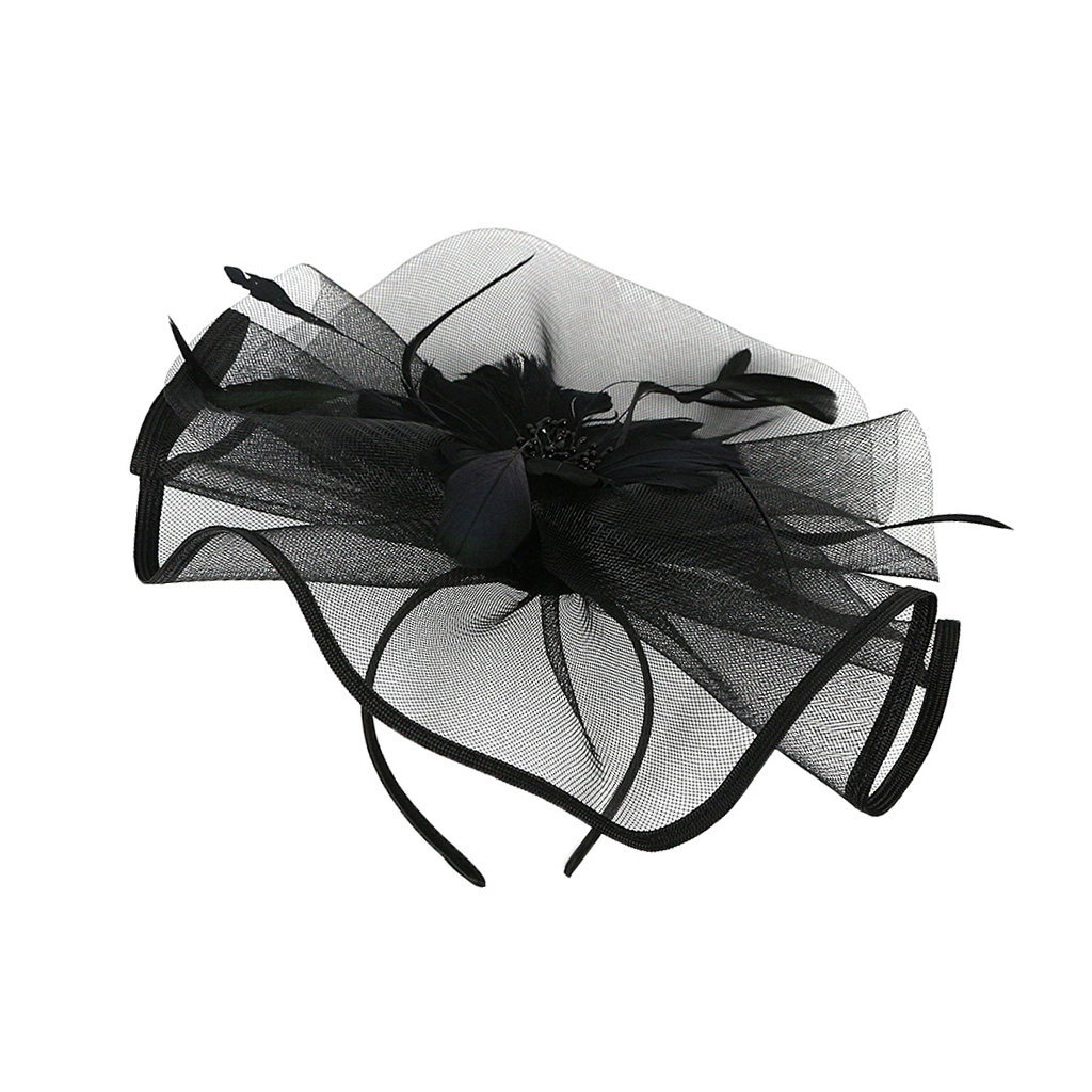 Women Feather Hair Clip Fascinator Headpieces Wedding Bridal Party Top Hat