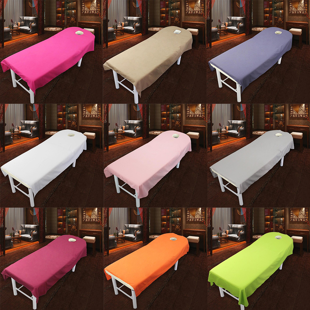Soft Polyester Massage Table Sheets Top Flat Bed Sheet Couch Cover With Hole