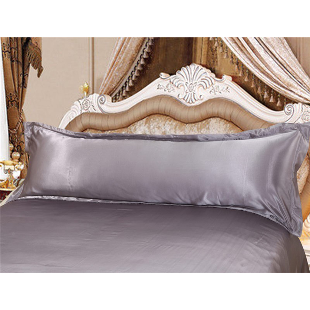 thumbnail 13 - Solid Color Luxury Silk Body Full Long Pillow Pillow Case Cover Pillowcase