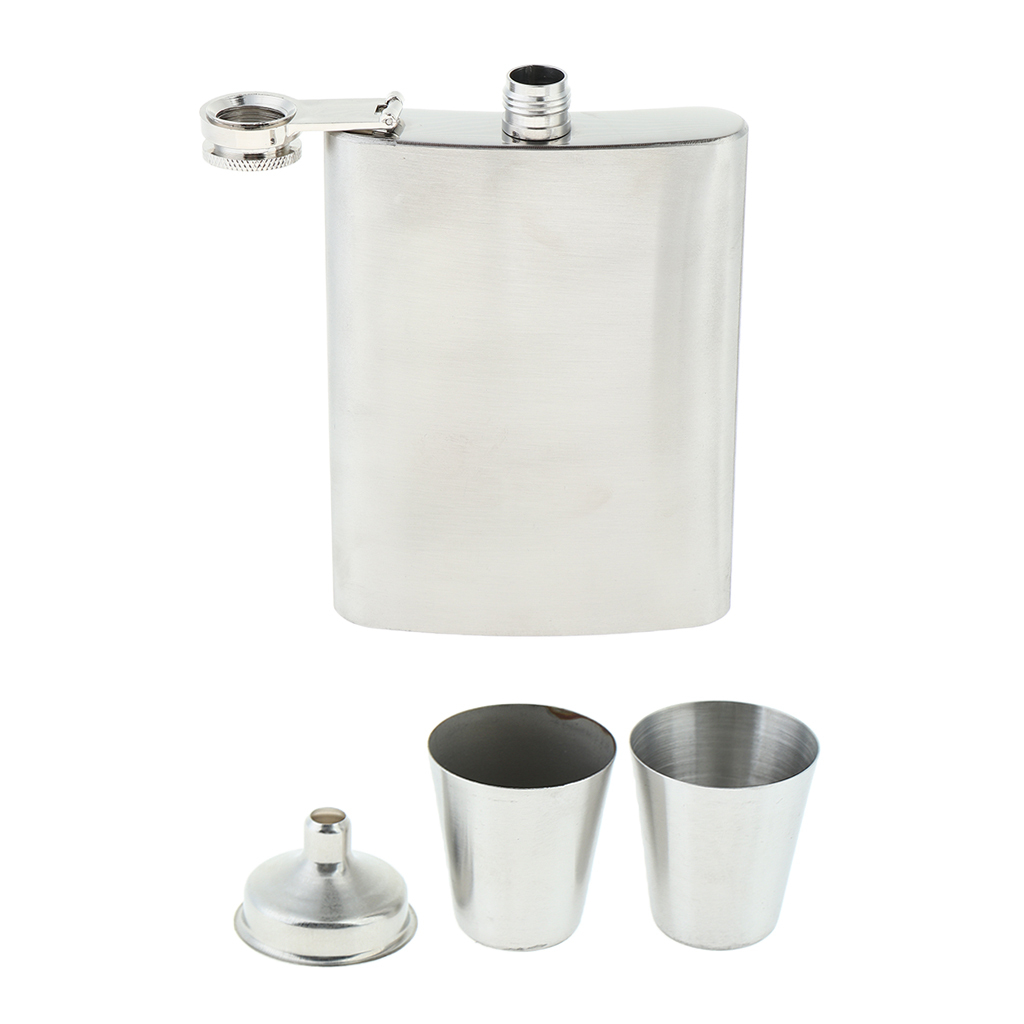 8oz-Hip-Flask-Set-Steel-Stainless-Liquor-Drinking-of-Alcohol-Whiskey-Gifts thumbnail 6