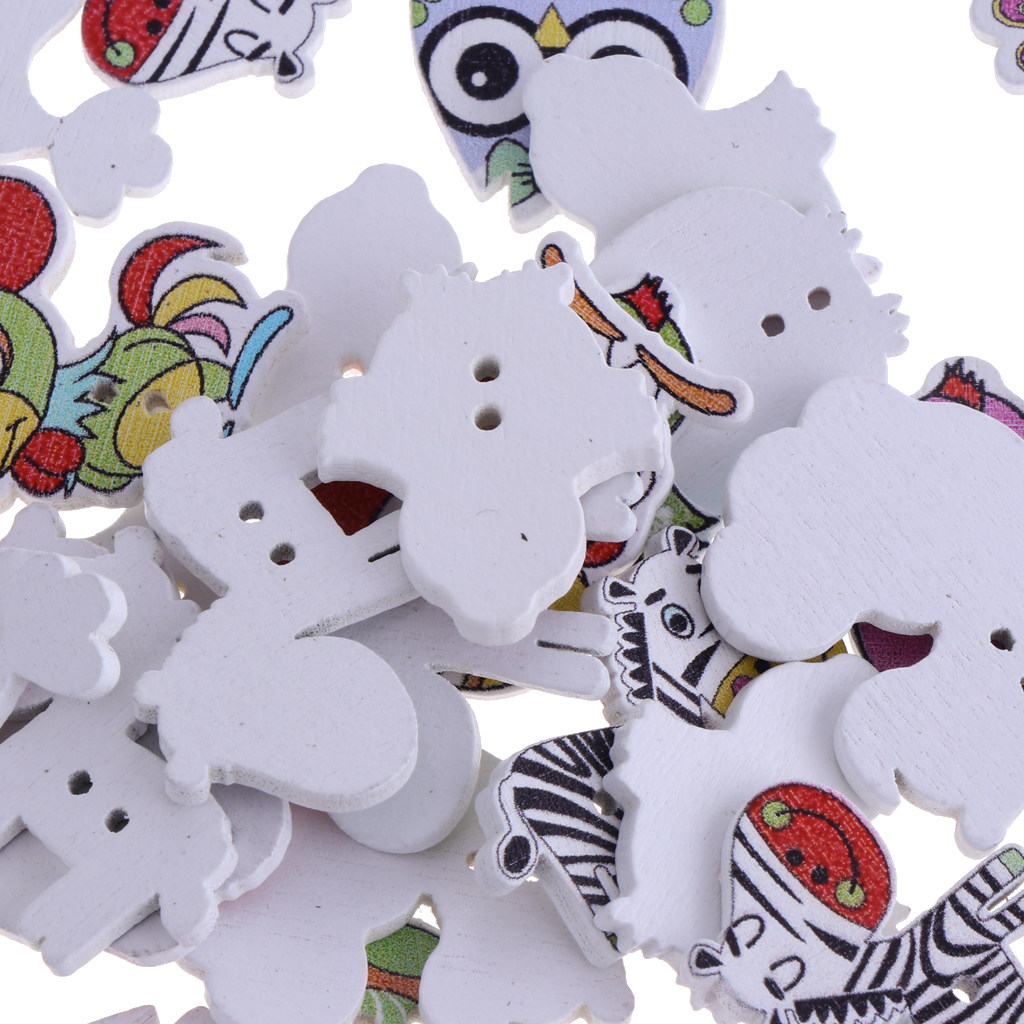 50pcs-Wooden-Buttons-2-hole-Cartoon-Animal-Buttons-for-DIY-Sewing-Scrapbooking thumbnail 5