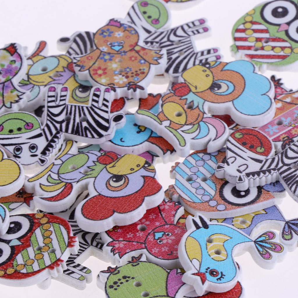 50pcs-Wooden-Buttons-2-hole-Cartoon-Animal-Buttons-for-DIY-Sewing-Scrapbooking thumbnail 3