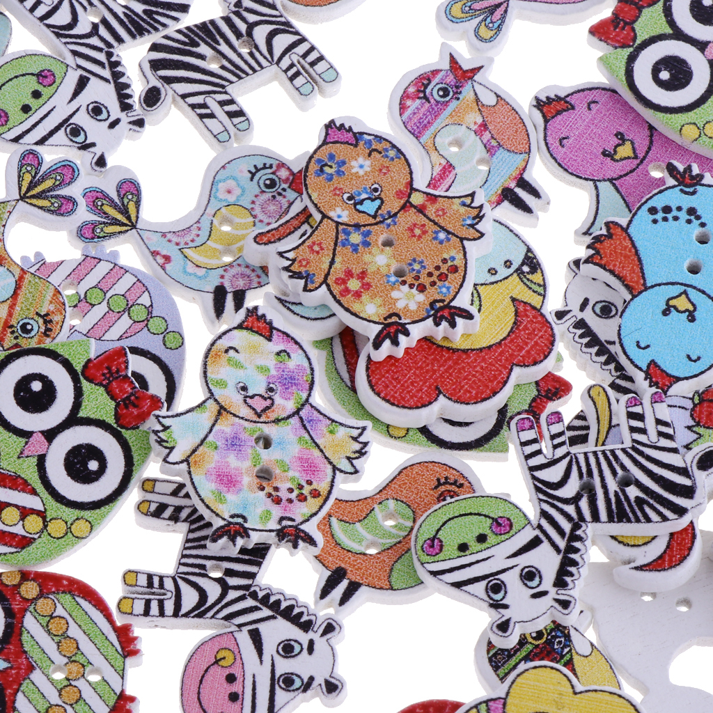 50pcs-Wooden-Buttons-2-hole-Cartoon-Animal-Buttons-for-DIY-Sewing-Scrapbooking thumbnail 4