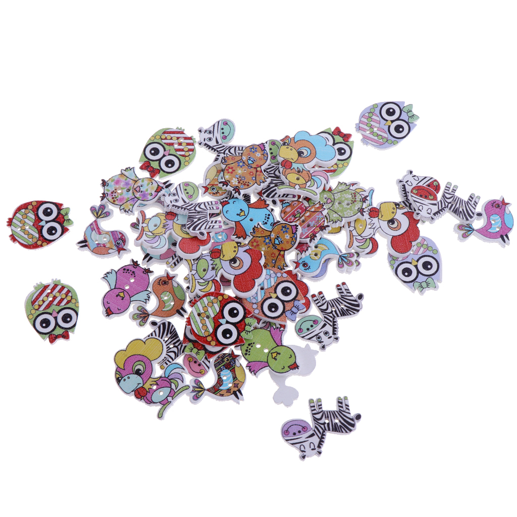 50pcs-Wooden-Buttons-2-hole-Cartoon-Animal-Buttons-for-DIY-Sewing-Scrapbooking thumbnail 7