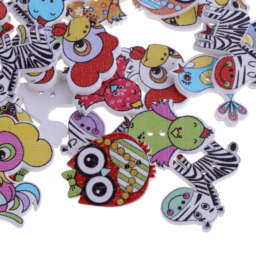 50pcs-Wooden-Buttons-2-hole-Cartoon-Animal-Buttons-for-DIY-Sewing-Scrapbooking thumbnail 6