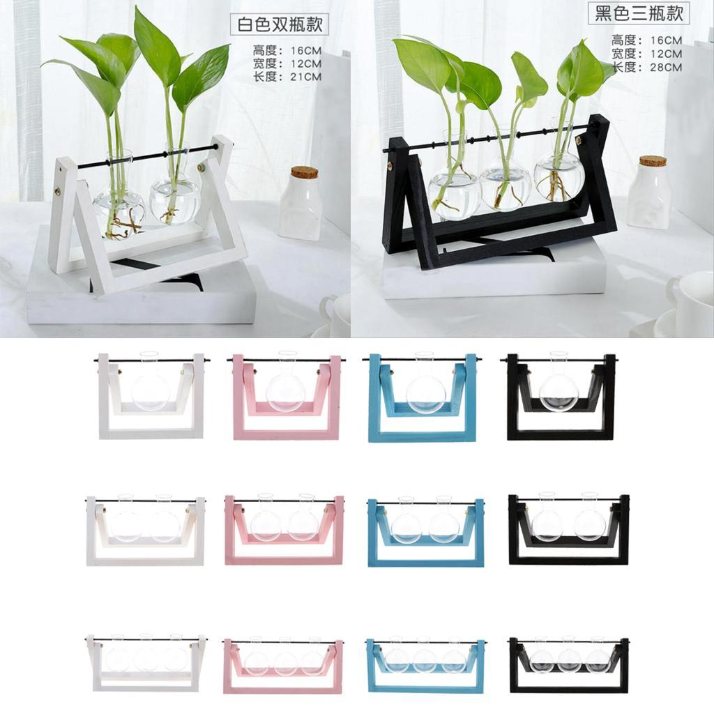 Hanging Plant Flower Glass Ball Vase Terrarium Wood Tray Wedding Centerpiece Ebay