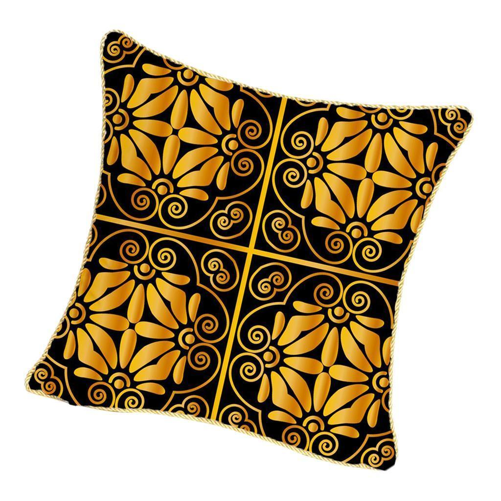 Square-Flannel-Pillowcase-Three-Stranded-Rope-Gold-Trimmed-Covers-Zipper miniature 18