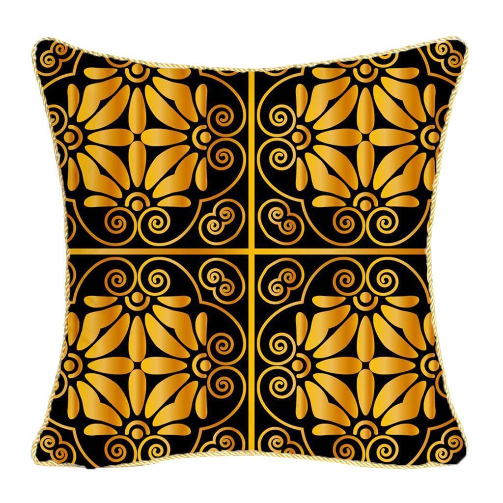 Square-Flannel-Pillowcase-Three-Stranded-Rope-Gold-Trimmed-Covers-Zipper miniature 19
