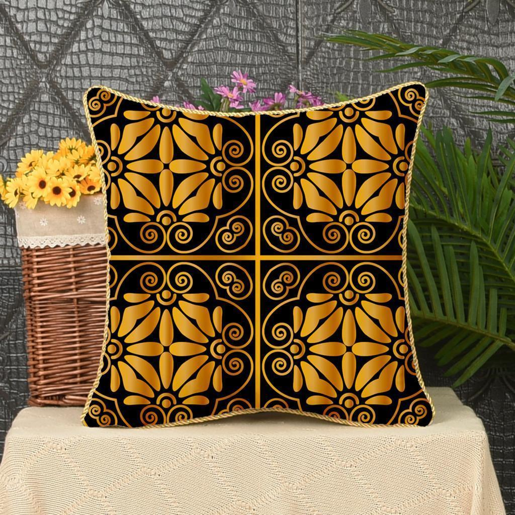Square-Flannel-Pillowcase-Three-Stranded-Rope-Gold-Trimmed-Covers-Zipper miniature 20