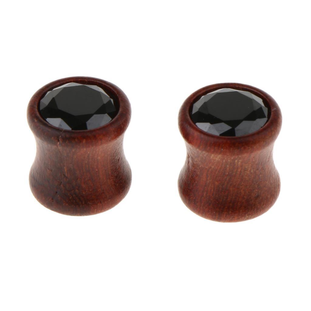2Pcs-Barelle-per-calibri-tunnel-in-legno-di-zirconite-vintage-rosso-sandalo miniatura 17