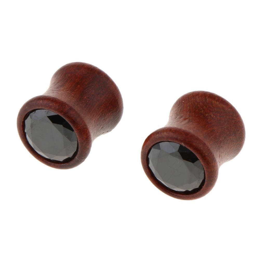 2Pcs-Barelle-per-calibri-tunnel-in-legno-di-zirconite-vintage-rosso-sandalo miniatura 18