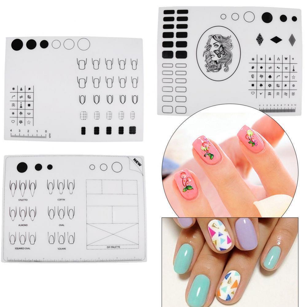 Nail Art Practice Silicone Mat Pad Polish Stamping Transfer Diy