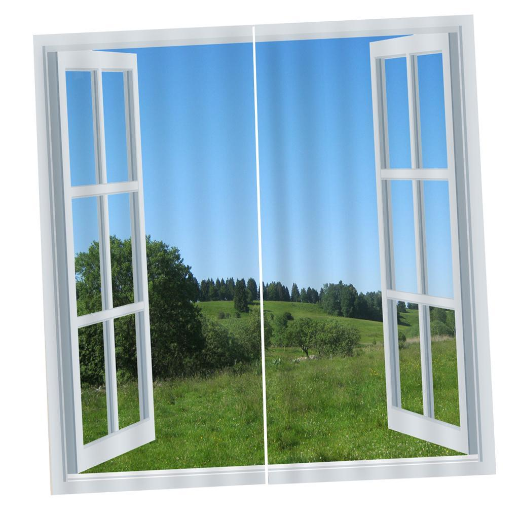 2pcs Scenery Out Of Window Door Curtains Blinds 3d