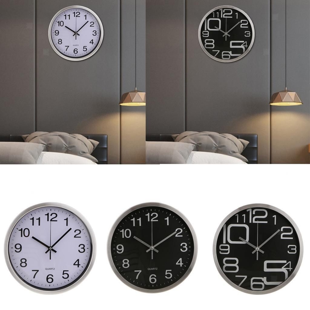 Wire Drawing Stainless Steel Wall Clock For Home Kitchen Bedroom