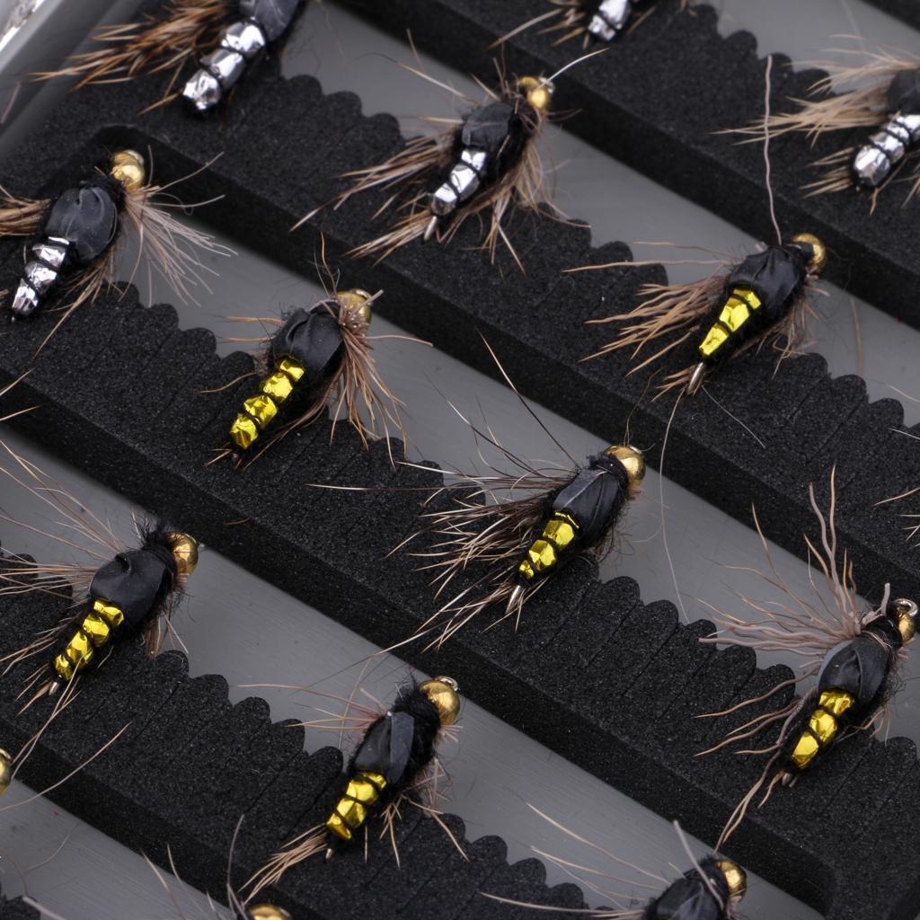 40Pcs Fly Fishing Flies Salmon Trout Bees Dry Fly Hook Flies Lifelike Baits