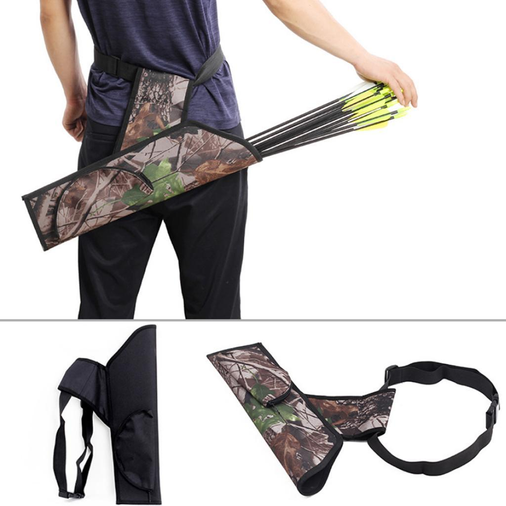 Camo Archery Bow Quiver Back Arrow Bag with Adjustable Belt Hunting Shooting