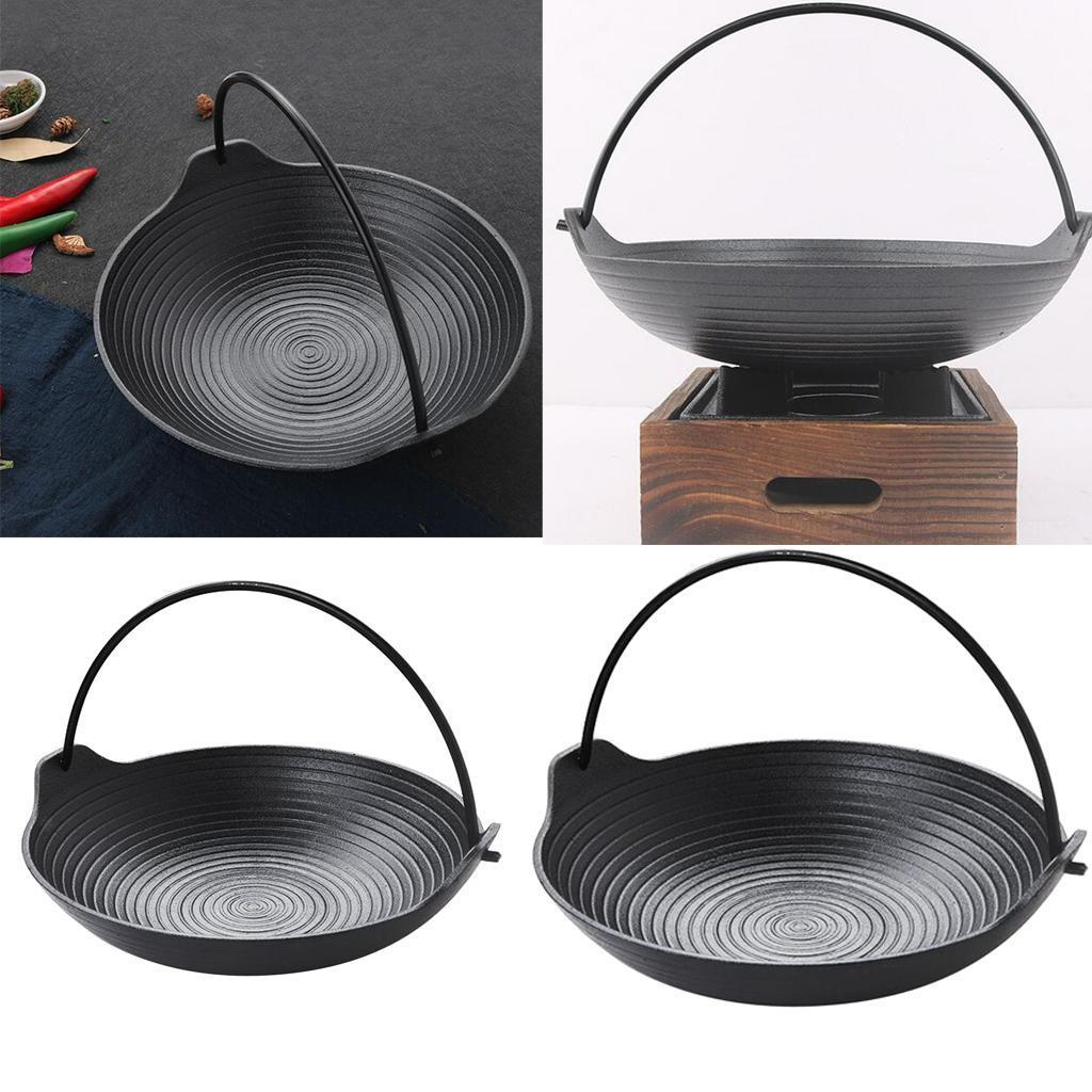 Portable-Cast-Iron-Cooking-Frying-Griddle-Skillet-Grill-Fry-Pan-Pot-Outdoor thumbnail 4