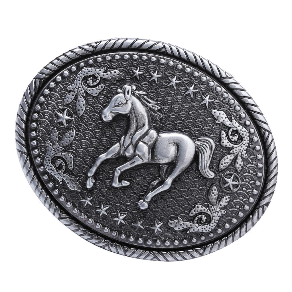Unisex Engraved Animal Equestrian Horse American Cowboy Oval Belt Buckles