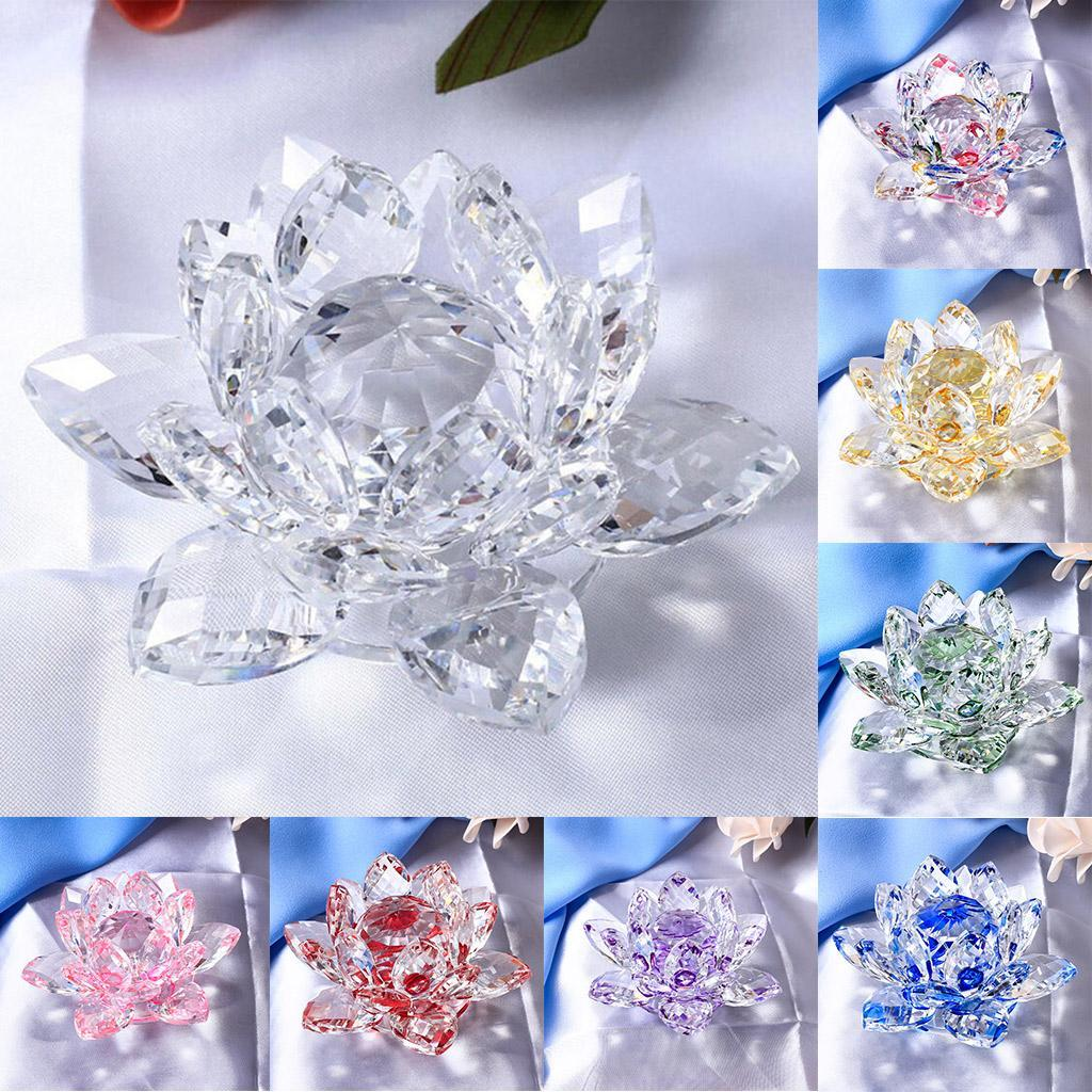 Crystal Lotus Flower Buddhist Ornaments Feng Shui Art Glass