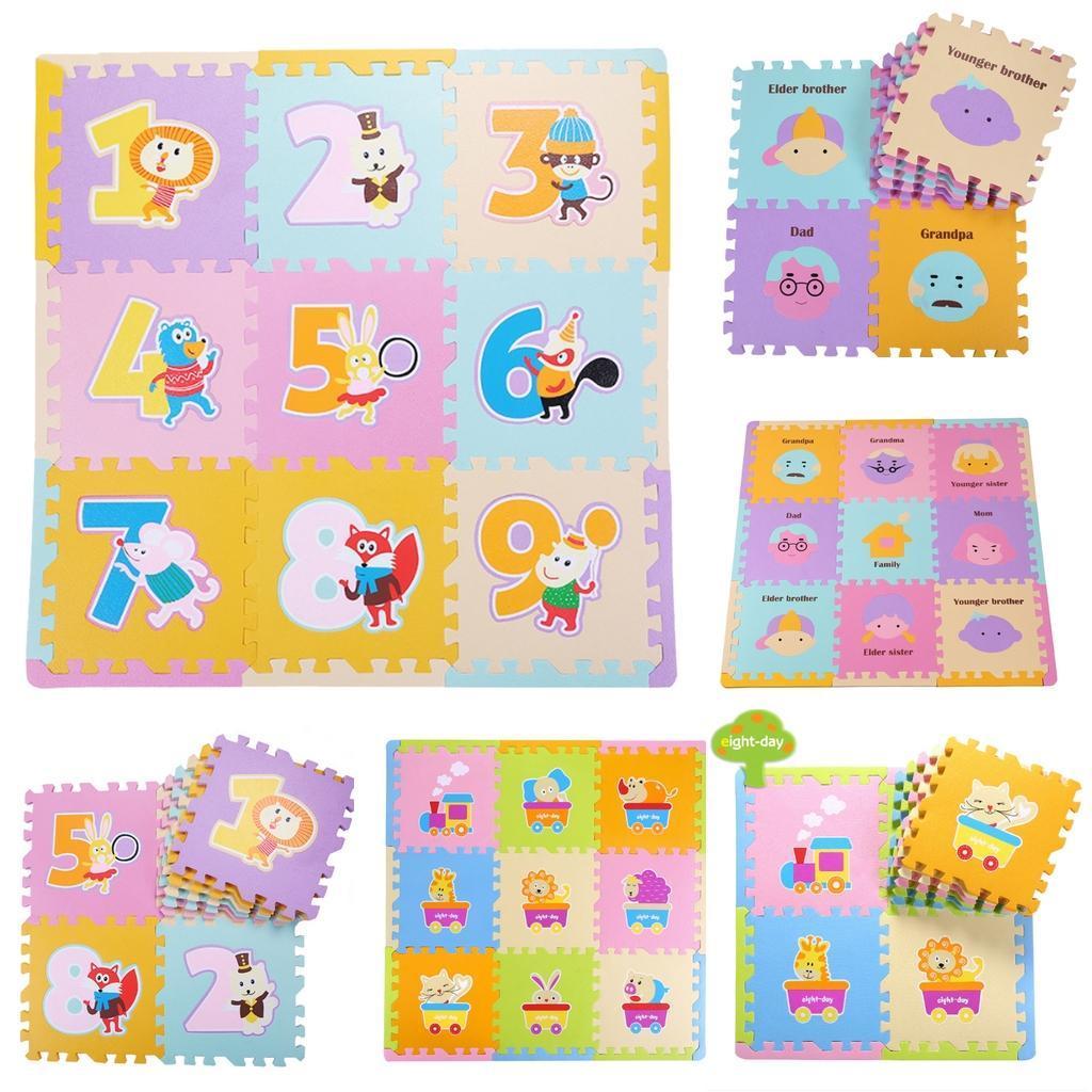 9pcs Soft Foam Exercise Gym Floor Mats Home Kids Puzzle Playmat Ebay