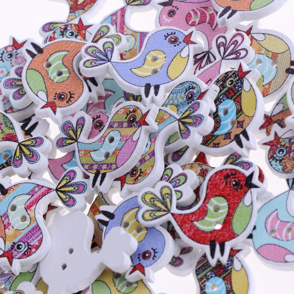 50pcs-Wooden-Buttons-2-hole-Cartoon-Animal-Buttons-for-DIY-Sewing-Scrapbooking thumbnail 10