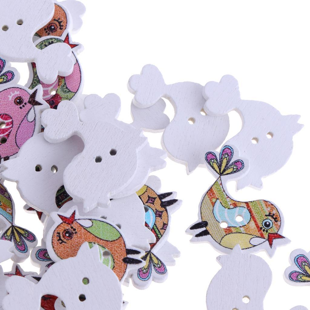 50pcs-Wooden-Buttons-2-hole-Cartoon-Animal-Buttons-for-DIY-Sewing-Scrapbooking thumbnail 11