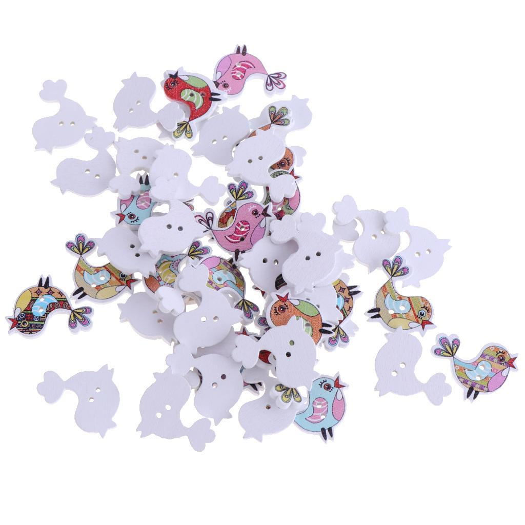 50pcs-Wooden-Buttons-2-hole-Cartoon-Animal-Buttons-for-DIY-Sewing-Scrapbooking thumbnail 12