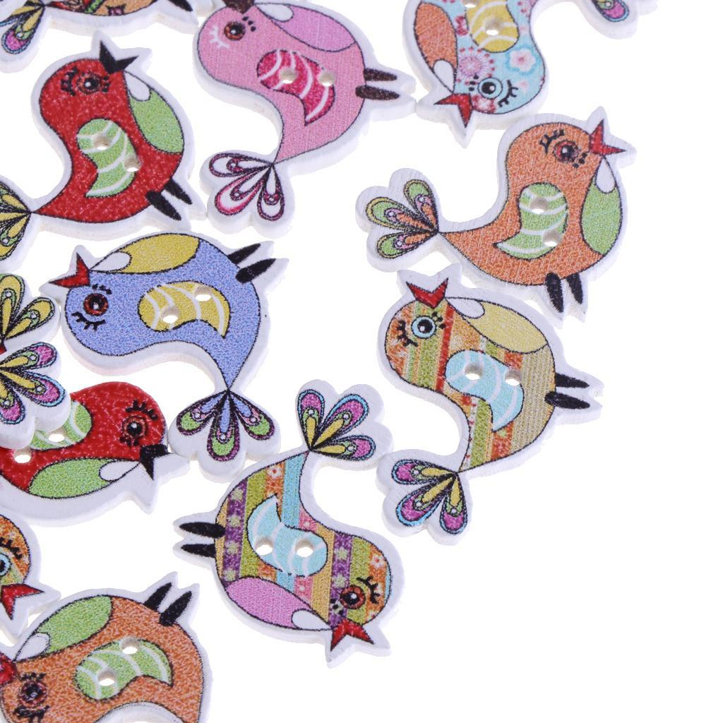 50pcs-Wooden-Buttons-2-hole-Cartoon-Animal-Buttons-for-DIY-Sewing-Scrapbooking thumbnail 13