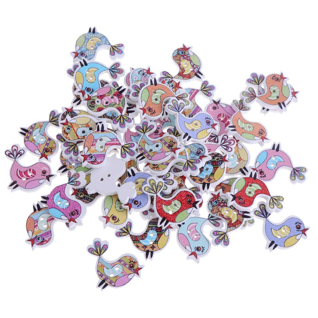 50pcs-Wooden-Buttons-2-hole-Cartoon-Animal-Buttons-for-DIY-Sewing-Scrapbooking thumbnail 14