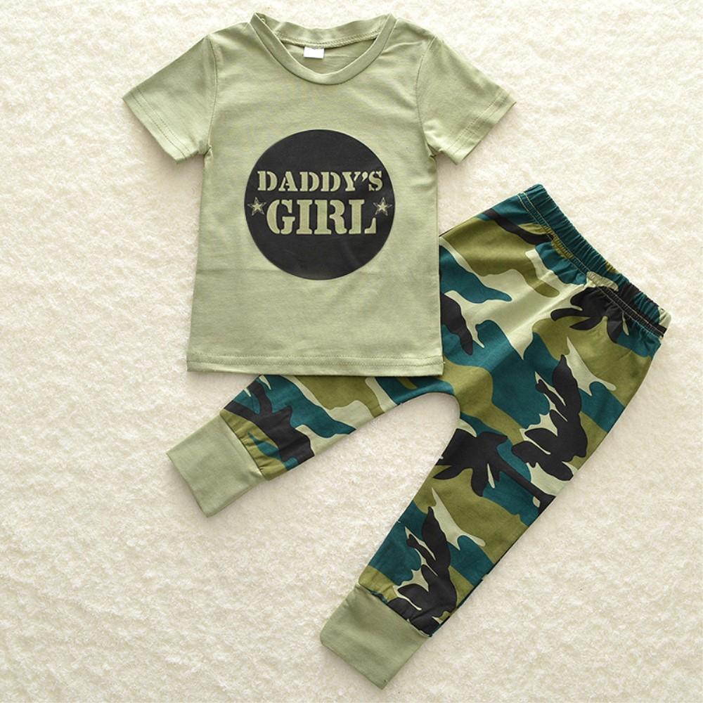 Bebe-Garcon-Fille-Camo-T-shirt-Hauts-Pantalons-Tenues-Ensemble-Vetements miniature 19