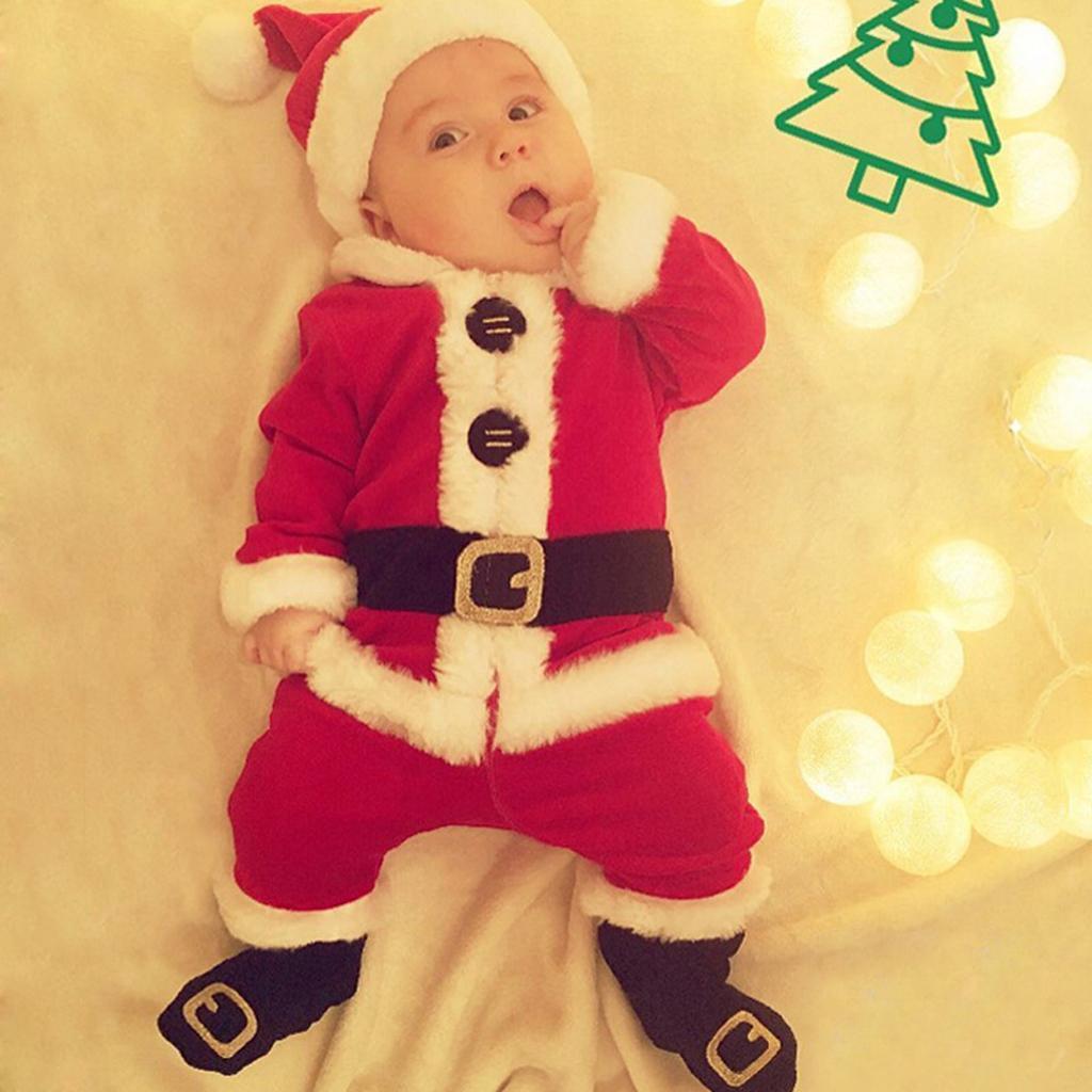 4Pc-Baby-Boy-Girl-Christmas-Santa-Claus-Costume-Top-Pants-Hat-Outfit-Clothes-Set thumbnail 7