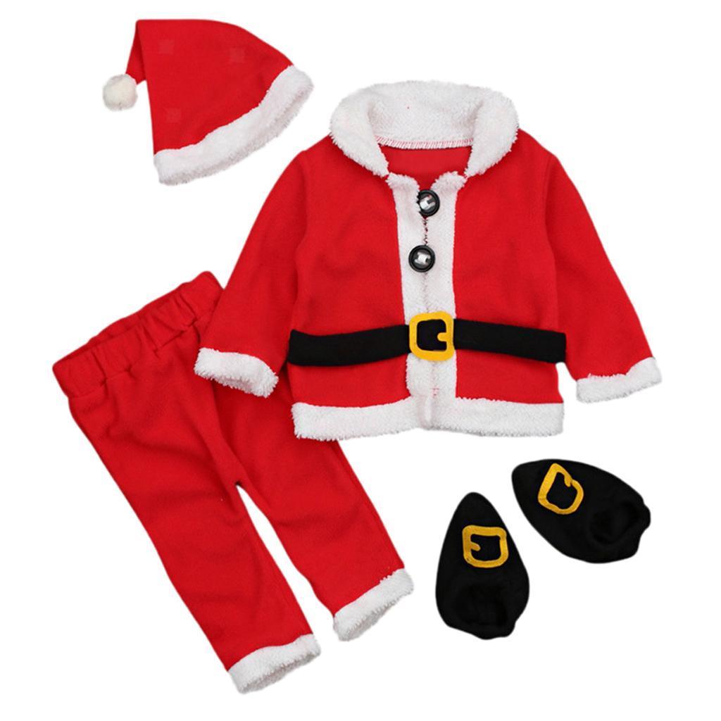 4Pc-Baby-Boy-Girl-Christmas-Santa-Claus-Costume-Top-Pants-Hat-Outfit-Clothes-Set thumbnail 5