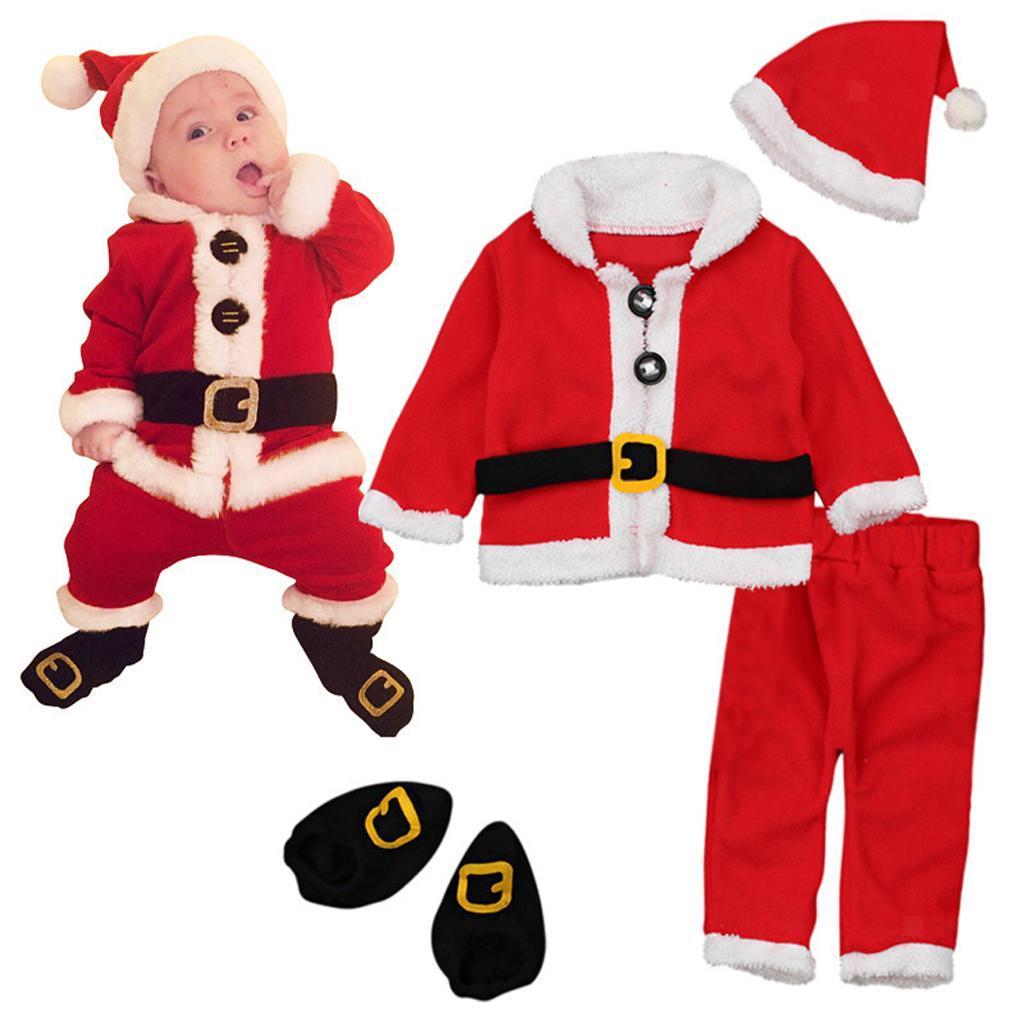 4Pc-Baby-Boy-Girl-Christmas-Santa-Claus-Costume-Top-Pants-Hat-Outfit-Clothes-Set thumbnail 3