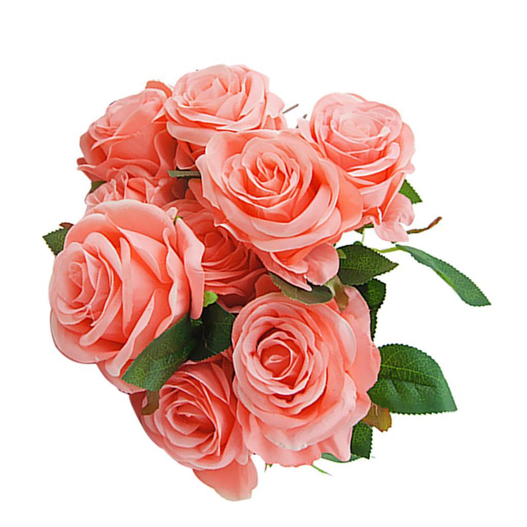 Large-9-HEADS-Artificial-Rose-Silk-Flowers-Fake-Floral-Valentines-Wedding-Decors thumbnail 7