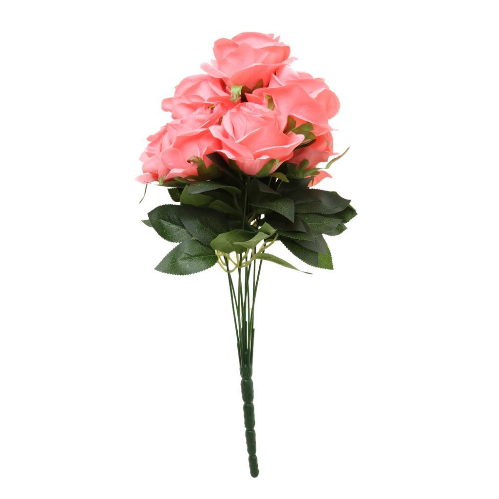 Large-9-HEADS-Artificial-Rose-Silk-Flowers-Fake-Floral-Valentines-Wedding-Decors thumbnail 9