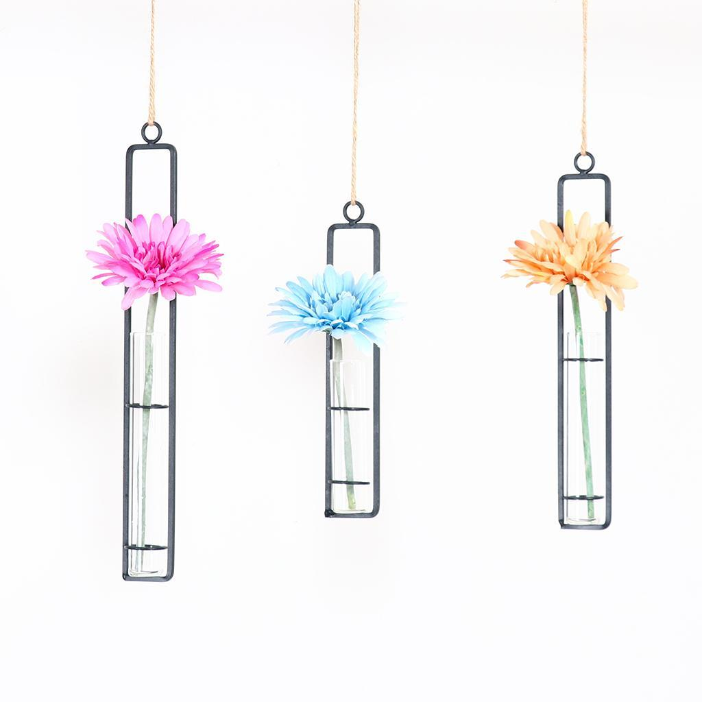 Glass test tube hanging flower vase hydroponic pot plant for Glass test tubes for crafts