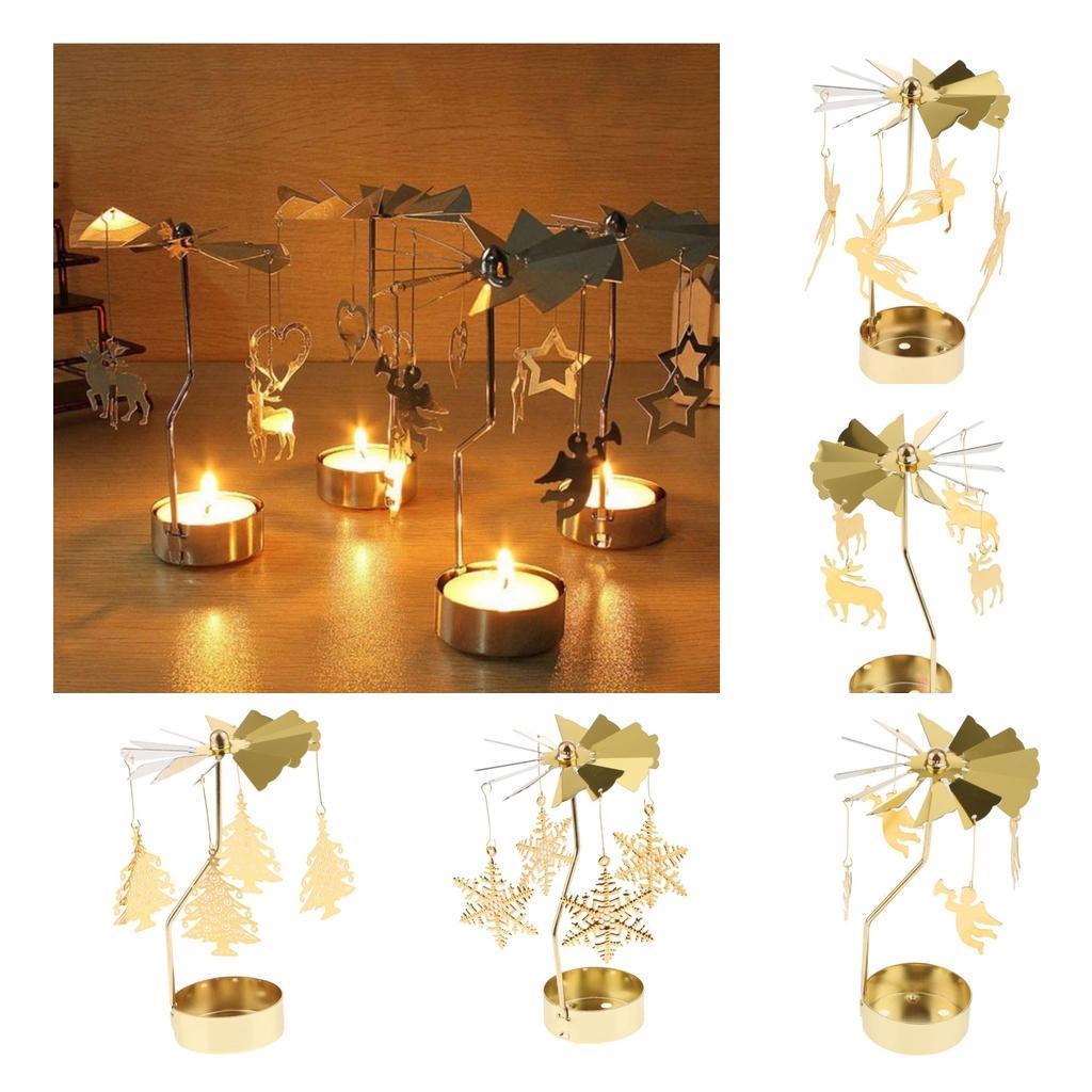 Rotating Candle Tea Light Holder Candlestick Gold Elf Party Favor