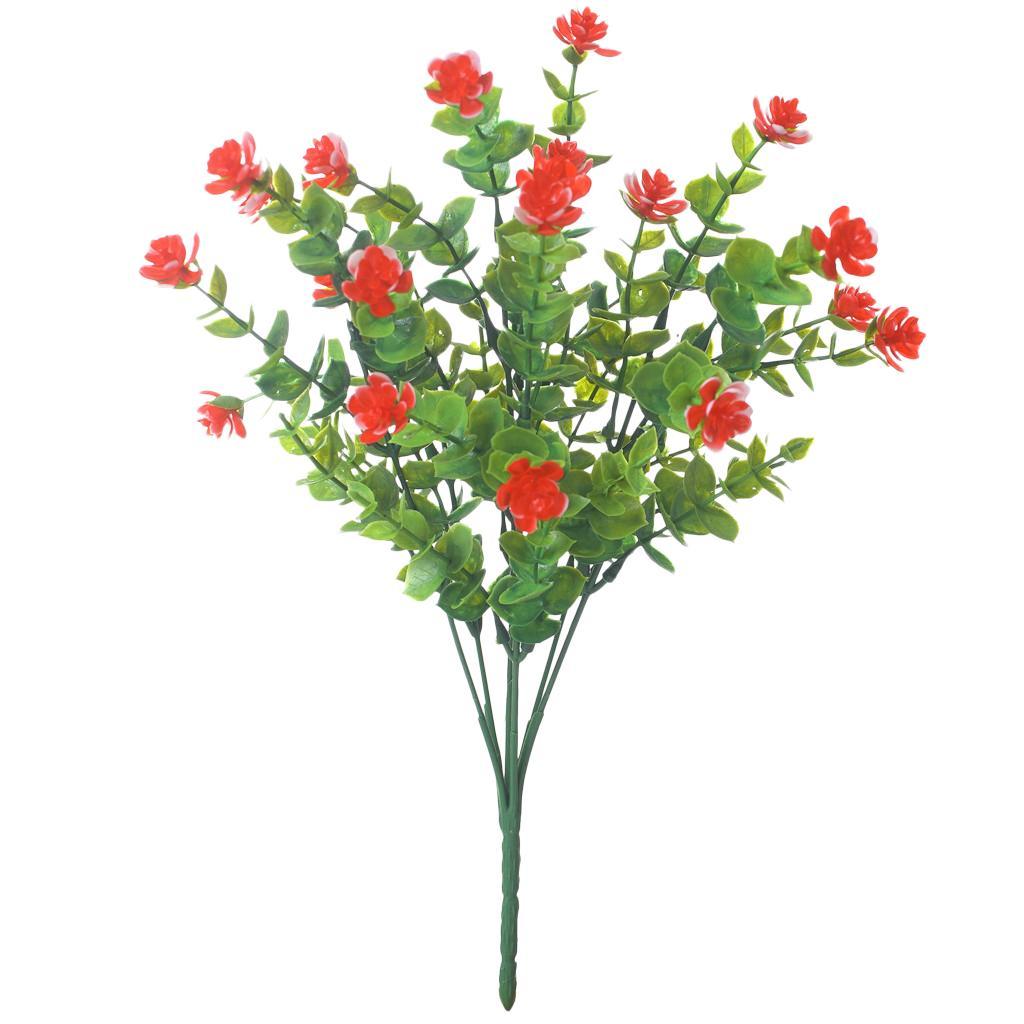 Plastic Flowers Fake Plants Wedding Artificial Eucalyptus Desktop Bosai Red