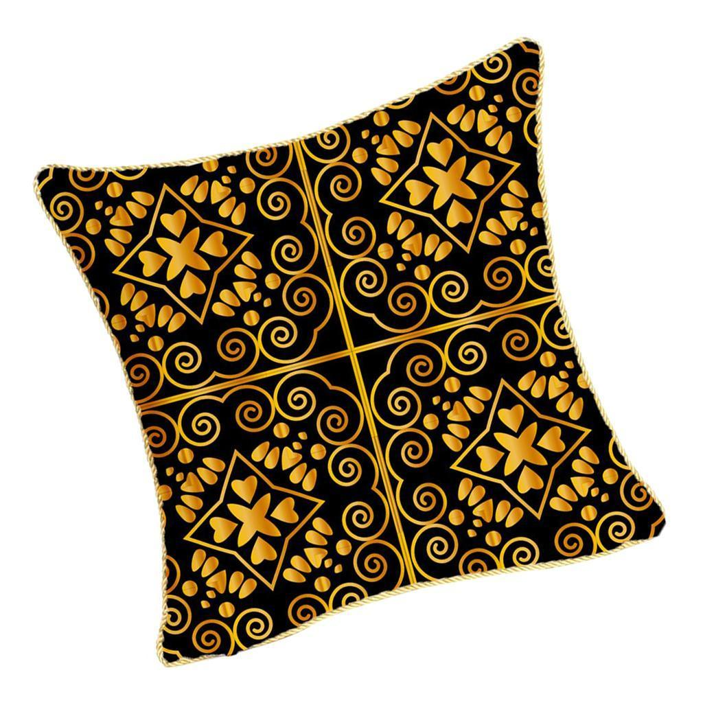 Square-Flannel-Pillowcase-Three-Stranded-Rope-Gold-Trimmed-Covers-Zipper miniature 22