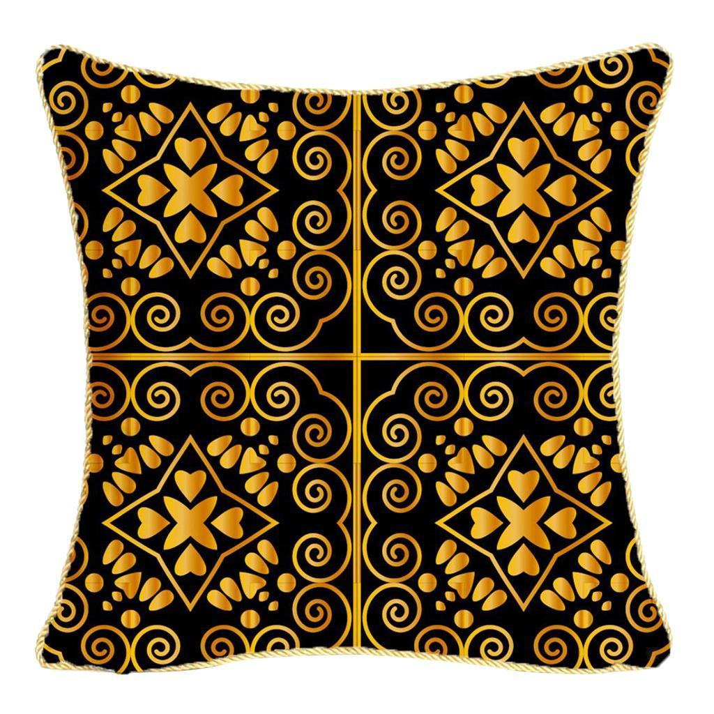 Square-Flannel-Pillowcase-Three-Stranded-Rope-Gold-Trimmed-Covers-Zipper miniature 23