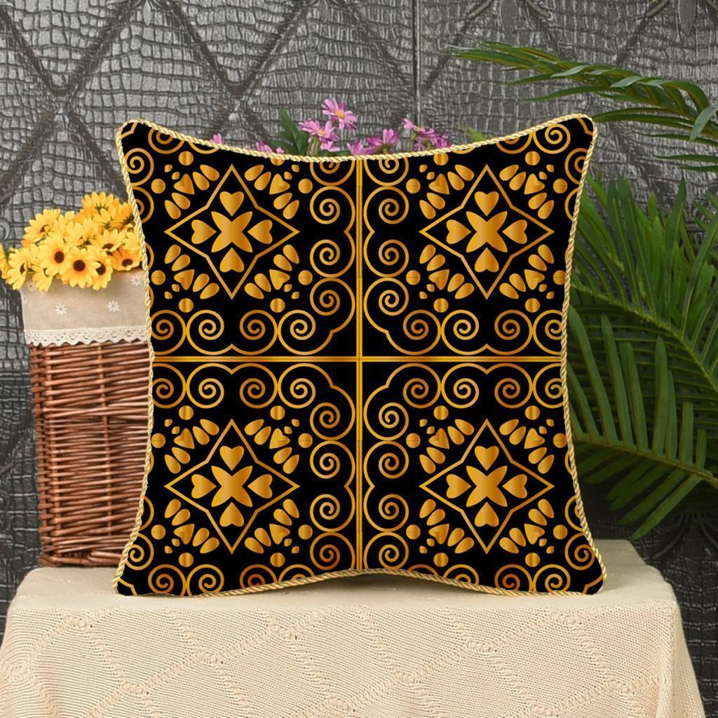 Square-Flannel-Pillowcase-Three-Stranded-Rope-Gold-Trimmed-Covers-Zipper miniature 24