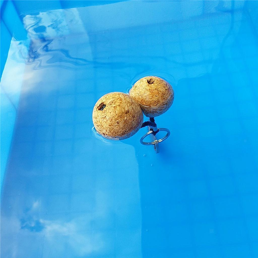 2pcs Floating Cork Keyring Floatable Wood Ball Buoyant Key Ring Key Chain