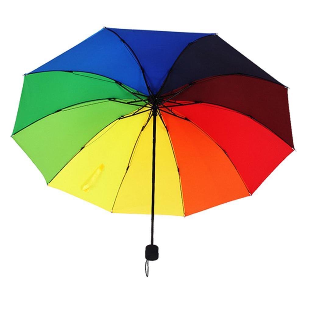 meilleures baskets ffdd1 70bb4 Détails sur Arc-en-ciel Parapluie Pliant Solide Automatique Léger Anti UV  Soleil pr