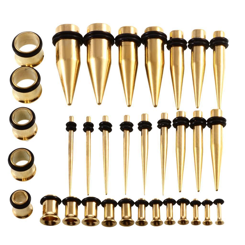36-pezzi-Punk-Rock-Ear-Gauges-Kit-estensibile-Plugs-Espansori-Taper-14G-00G miniatura 8